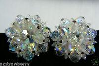 Vintage Laguna Aurora Borealis Crystal beads Cluster clip on Earrings