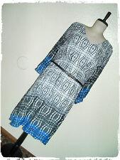 En Focus Studio Ombre Optic Illusion Belted Chiffon Puff Sleeve Sheath Dress 22W