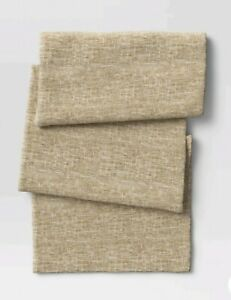 """Threshold 72"""" x 14"""" Ramie Table Runner Natural Colors Textured Weave Hemp/Cotton"""