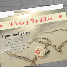 Personalised Beach Heart Abroad Wedding Reception Invitations x 12 +env H1664