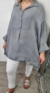Shirt Long Oversized Hi Lo Vent Linen Lightweight Buttons 12 14 16 18 Dark Grey