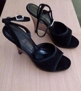 Franco Burrone Black Suede Perspex Wedge Heels 39 $240