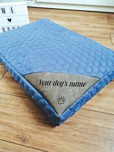 Blue Personalised Dog Bed Luxury Orthopaedic Memory Foam Waterproof Washable