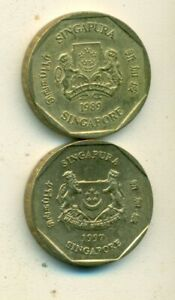 2 DIFFERENT 1 DOLLAR COINS from SINGAPORE DATING 1989 & 1997