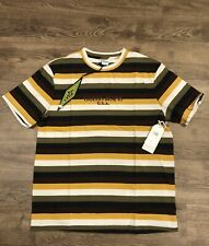 GUESS Original Striped Green/black/brown/yellow Embroidered Mens T Shirt Sz M