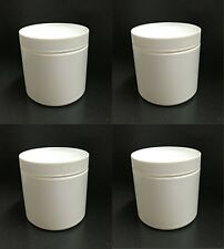 Lot of 4 Small White Plastic Canisters/Containers with Lid