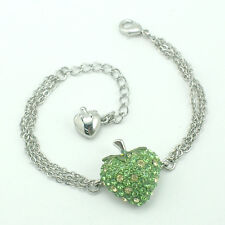 14k white Gold GF green strawberry bangle bracelet with Swarovski crystals