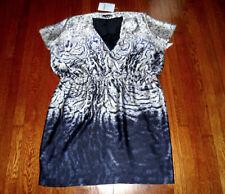 Marina Rinaldi DUOMO Italy Made Animal Print Elastic Waist Lace Trim Dress