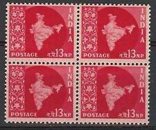 India 1957 Sc# 282 Map of India 13np Naya Paisa block 4 MNH