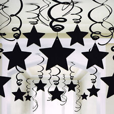 BLACK SHOOTING STAR SWIRL DECORATIONS (30) ~ Birthday Party Supplies Foil Solid