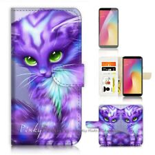 ( For Oppo A73 ) Flip Wallet Case Cover P21199 Pussy Cat