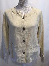 J.JILL Women Career Casual Beige Long Sleeve 100% Linen Light Jacket Sz Small S