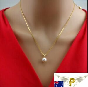 Real 18k Solid Gold AU750 Necklace Natural Freshwater Pearl Pendant 2.77-2.84g