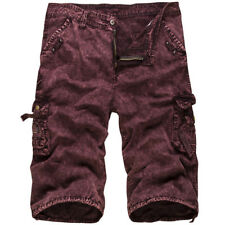 Mens Casual Military Army Cargo Camo Combat Solid Work Shorts Pants Trousers