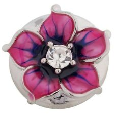 Silver Pink Blue Enamel Flower 20mm Snap Charm For Ginger Snaps Noosa Jewelry