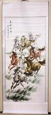 Hand Paint horse Oriental Art Ink Brush Chinese scroll painting  27 x 70""