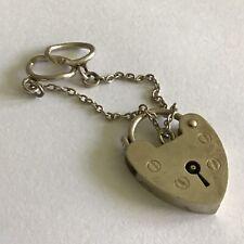 Sterling Silver London 1975 Heart Locket & Safty Chain Lock