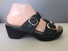 N35 Dansko Black Silver Metallic Wedge Slide Sandals Womens 38