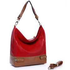 Noble Bags Melina Bag XL Hobo Berry & Camel Brown Damen Lederhandtasche UVP 169€