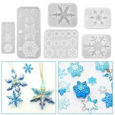 6Pcs Christmas Snowflake Silicone Moulds Resin Silicone Pendant Mold DIY Home
