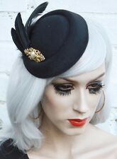 Black Vtg Pin 20s Style Hat Feather Fascinator Rockabilly Bridal Races Funeral