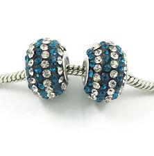 2pcs Luxurious Czech Crystal Round Bead European Charm Fit Necklace Bracelet DIY
