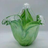 SMALL GREEN SWIRL GLASS VASE - MURANO ART GLASS - GROUND BASE