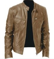 Mens Black & Brown Leather Jacket Vintage Slim Fit Biker Retro Genuine