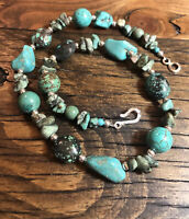 """#1218 Turquoise And Sterling Silver Bead 18"""" Necklace, Silver 925 Hook Eye Clasp"""