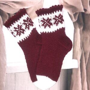 Size XS 3-4 Hand knitted Fair Isle  Ethnic Native Folk Style Cosy Lounge Socks