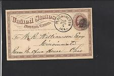 BLOOMINGTON, ILLINOIS  1875 GOVERNMENT POSTAL CARD ADVT LINSEED OIL WORKS.