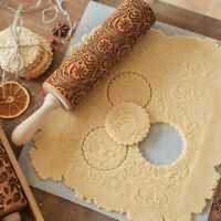 CHRISTMAS EMBOSSING ROLLING PIN BAKING COOKIES ENGRAVED DOUGH ROLLER ALLURING