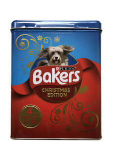 Bakers Purina Christmas Edition Pet Dog Biscuit Tin 4 Packs of Biscuit Treats