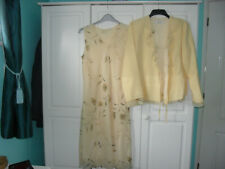 Mother of the Bride  Yellow Floral Midi Dress & Jacket - Size 18 - Unworn
