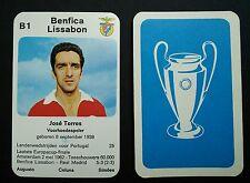 BENFICA-Jose Torres - 1970 Olandese COPPA EUROPA-kwartet Game Card-LIMITATA
