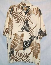 Large Trutus Biancarra Monobaik Hawaiian Shirt Beige Brown Black Short Sleeve