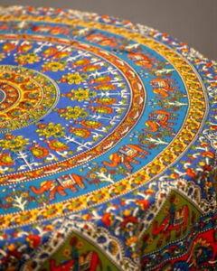 "Elephant Mandala Style Round Tablecloth Table Cloth Cotton 72"" Diameter Blue"