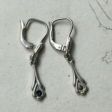 Old Earrings Sleepers Silver 865 Stone Blue Early Xxème