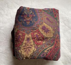 Vintage Ralph Lauren Queen Fitted Cotton Sheet Paisley ~ burgundy,Purple,green