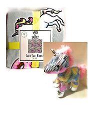 Warm Snuggly Unicorn Blanket Sparkle Holographic Rainbow Stuffed Animal Gift Set
