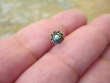 Nose Bone Ball Straight Stud 20g Bronze Bohemian Tribal Flower White Lab Opal