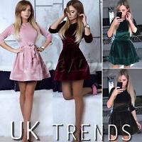 UK Womens Velvet Skater Dress Christmas Party Belt Ladies Mini Dress Size 6-14