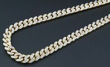 """Chain 30""""In 14K Yellow Gold Over Christmas Round Cut 8Ct Diamond Miami Cuban"""