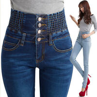 Women's High Waist Skinny Denim Jeans Slim Long Pencil Pants Trousers Plus Size