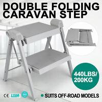 Double Folding Caravan Step Portable Steel Hook Abs Plastic Camper Trailer