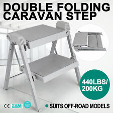 Double Folding Caravan Step Portable Steel Hook Abs Plastic Camper Trailer