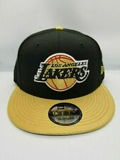NEW ERA 9FIFTY ADJUSTABLE SNAPBACK HAT.  NBA.  LOS ANGELES LAKERS.  BLACK.