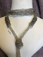 1930s Sautoir Necklace Glass Beaded Clear Fringed Flapper Long Jewellery Jewelry