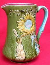 RARE AUTHENTIC FRENCH FIVES LILLE MAJOLICA RABBITS PITCHER C 1880