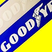 """GOODYEAR - WHITE Stickers Decals 13"""" (33cm) racing race Set of 2"""